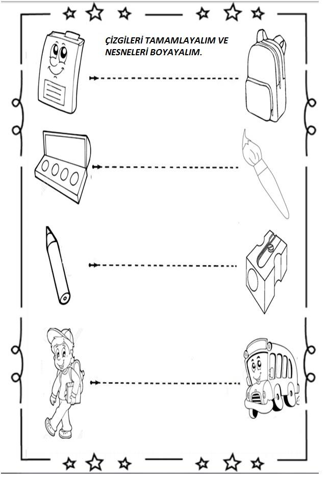 Anasınıfı Okul Eşyaları çalışma Sayfası Preschool Activity