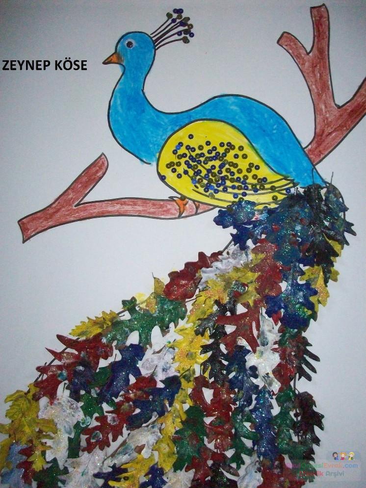 Yaprak Boyama Tavus Kuşu Preschool Activity