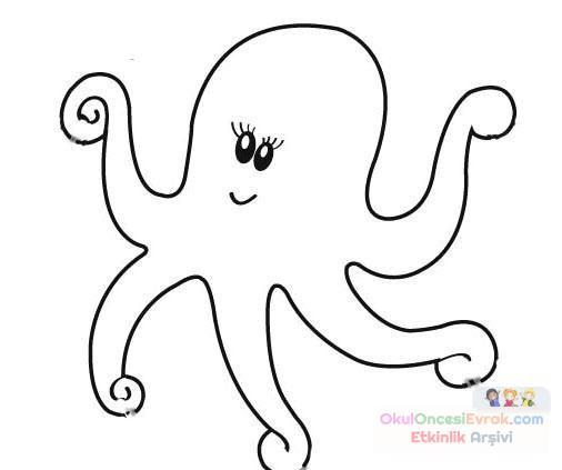 Ahtapot Hayvanlar Deniz Canlıları Boyama 3 Preschool Activity