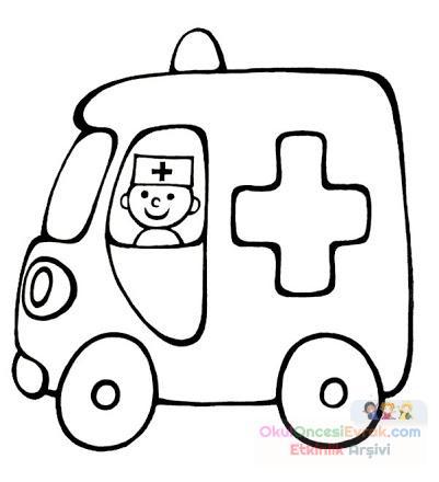 Ambulans Boyama Sayfası Preschool Activity