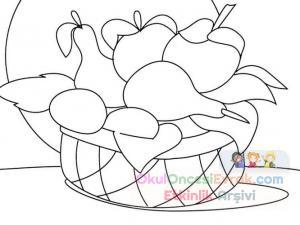 Anasınıfı Meyve Sepeti Boyama 2 300x225 Preschool Activity