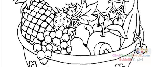 Anasınıfı Meyve Sepeti Boyama 8 605x264 Preschool Activity