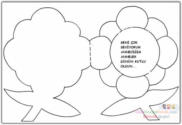 Anneler Günü Boyama Kartları2 Preschool Activity