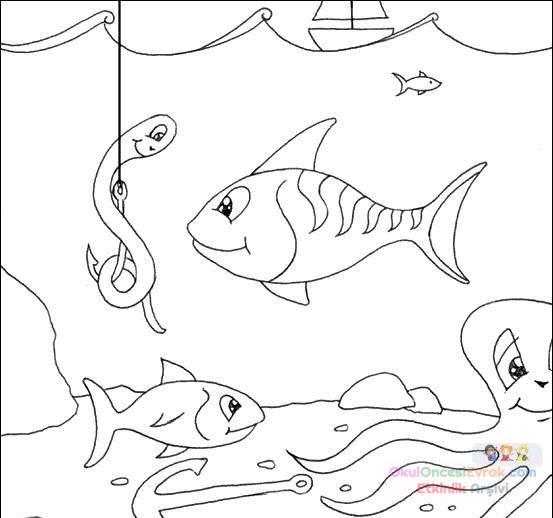 Balık Hayvanlar Deniz Canlıları Boyama 64 Preschool Activity