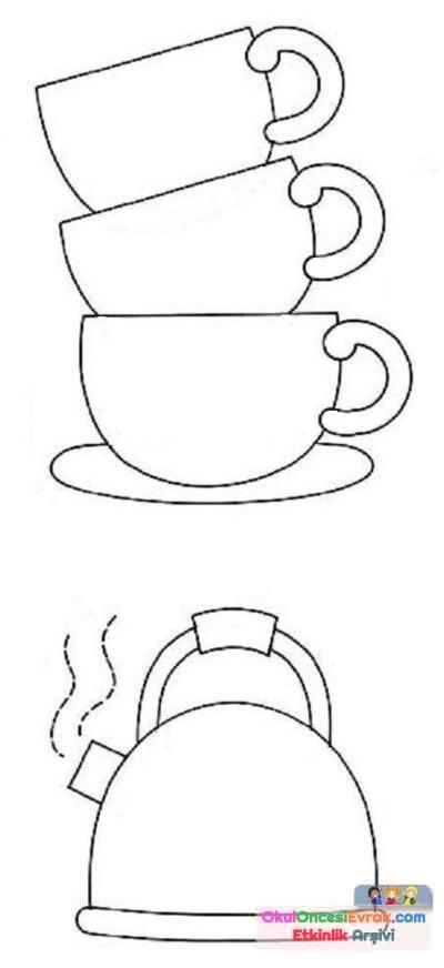 Bardak çaydanlıkçatalbiçak Boyama Sayfası106 Preschool Activity