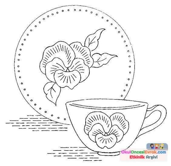 Bardak çaydanlıkçatalbiçak Boyama Sayfası114 Preschool Activity