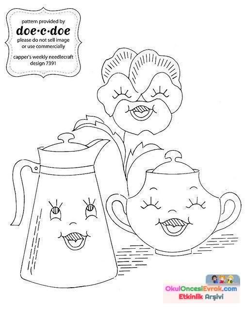 Bardak çaydanlıkçatalbiçak Boyama Sayfası67 Preschool Activity