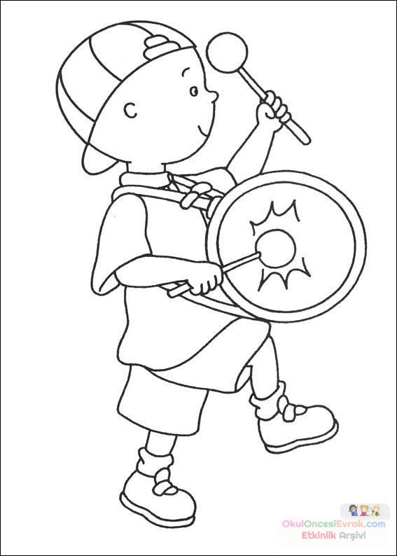 Caillou Davul Caliyor Boyama Sayfasi Preschool Activity