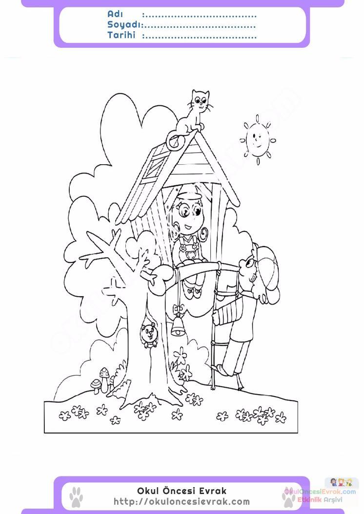 çocuklar Için Ağaç Ev Yapılar Binalar Boyama Sayfası 2 Preschool