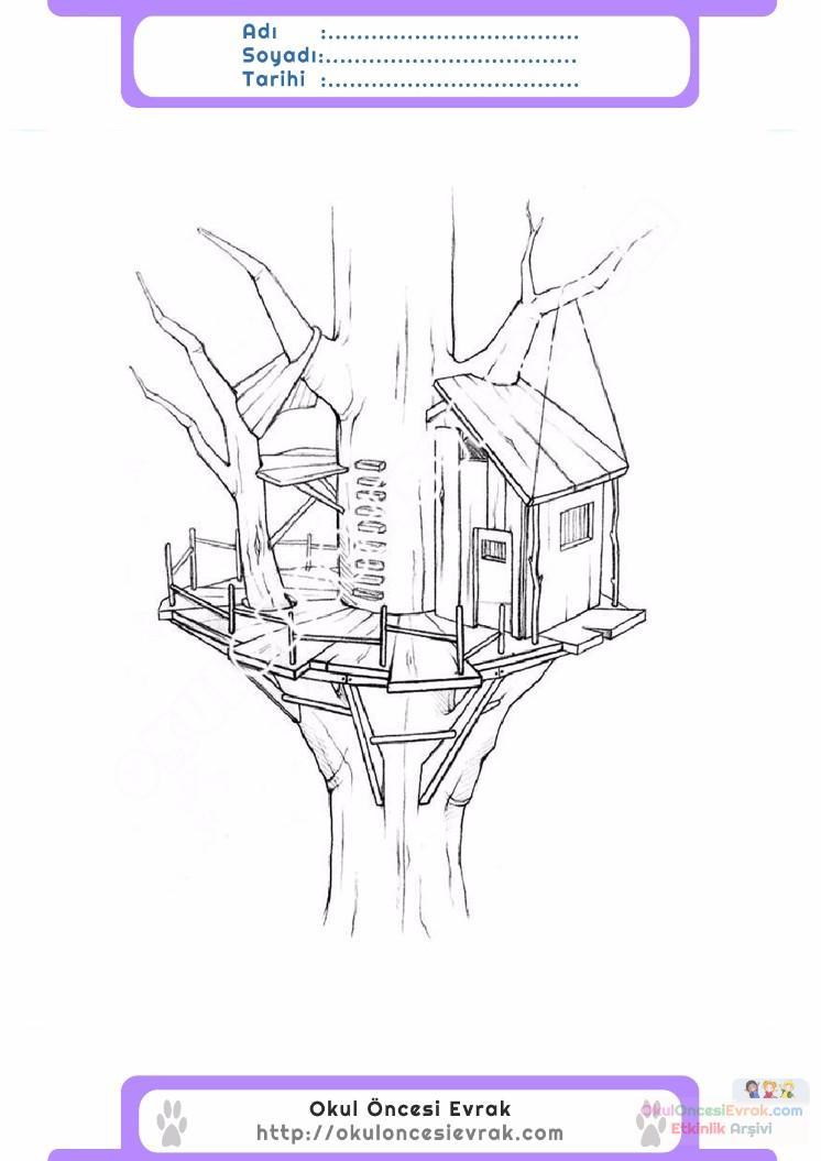 çocuklar Için Ağaç Ev Yapılar Binalar Boyama Sayfası 3 Preschool