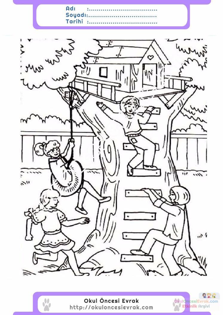 çocuklar Için Ağaç Ev Yapılar Binalar Boyama Sayfası 5 Preschool