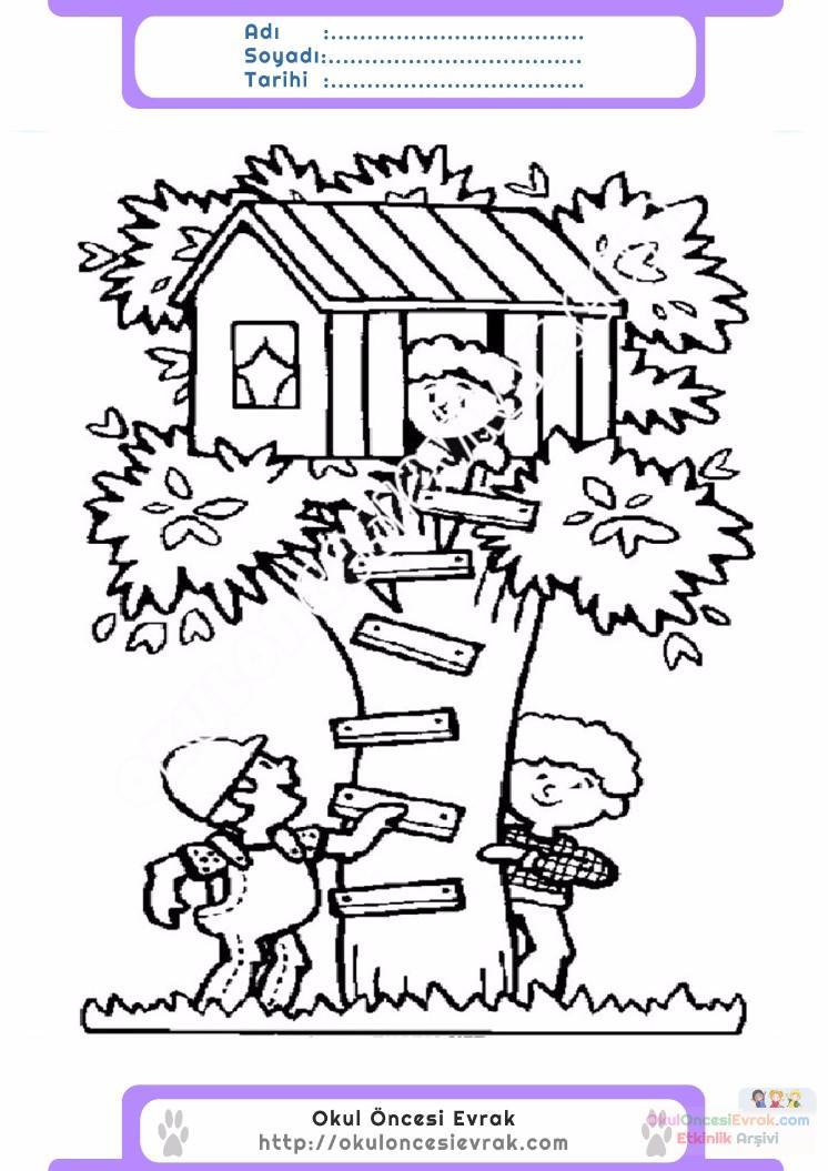 çocuklar Için Ağaç Ev Yapılar Binalar Boyama Sayfası 6 Preschool