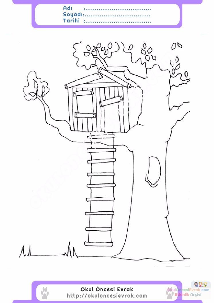 çocuklar Için Ağaç Ev Yapılar Binalar Boyama Sayfası 7 Preschool