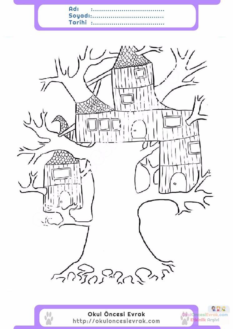 çocuklar Için Ağaç Ev Yapılar Binalar Boyama Sayfası 8 Preschool