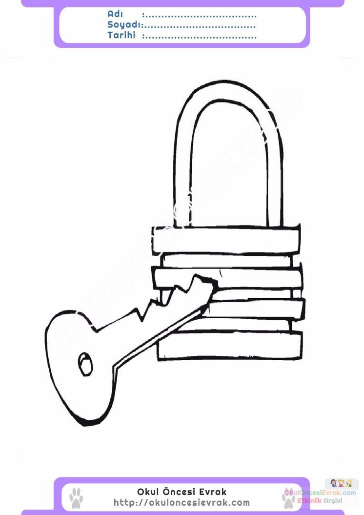 çocuklar Için Anahtar Eşyalar Boyama Sayfası 3 Preschool Activity