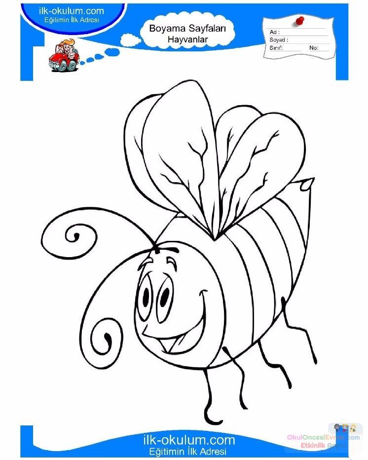 çocuklar Için Arı Hayvan Boyama Sayfası 2 Preschool Activity