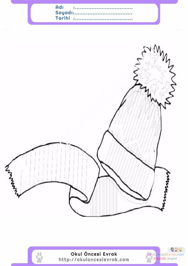 çocuklar Için Atkı Kıyafet Giysi Boyama Sayfası 10 Preschool Activity