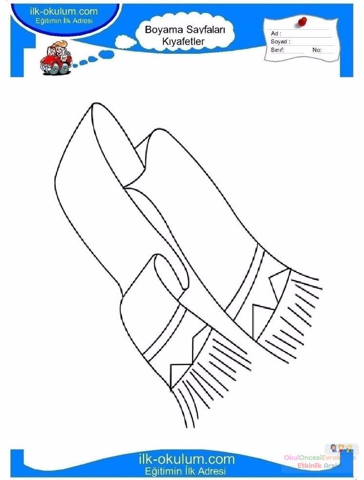 çocuklar Için Atkı Kıyafet Giysi Boyama Sayfası 2 Preschool Activity