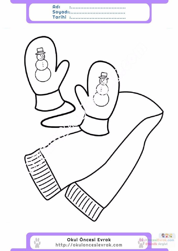 çocuklar Için Atkı Kıyafet Giysi Boyama Sayfası 4 Preschool Activity
