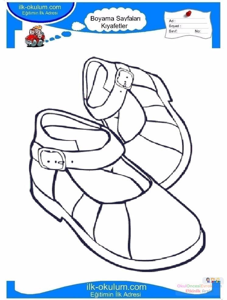 çocuklar Için Ayakkabı Kıyafet Giysi Boyama Sayfası 1 2