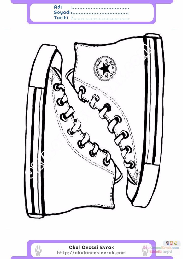 çocuklar Için Ayakkabı Kıyafet Giysi Boyama Sayfası 2 1