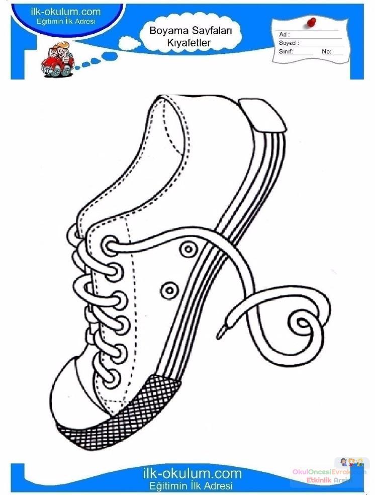 çocuklar Için Ayakkabı Kıyafet Giysi Boyama Sayfası 3 2
