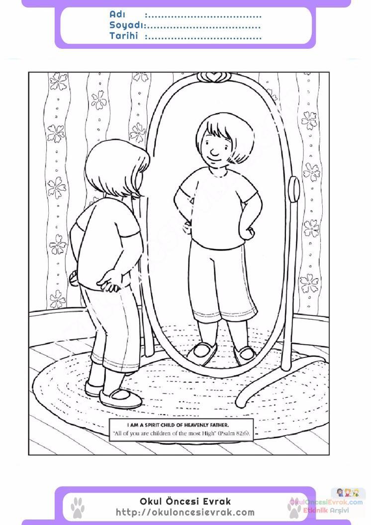 çocuklar Için Ayna Eşyalar Boyama Sayfası 10 Preschool Activity