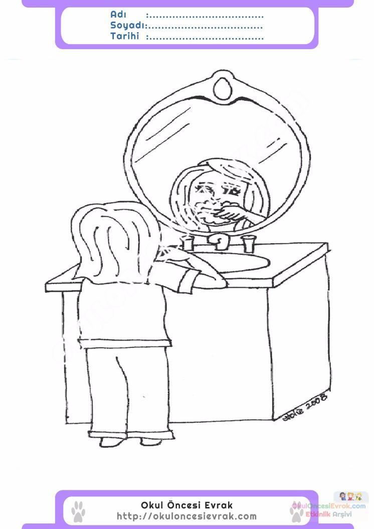 çocuklar Için Ayna Eşyalar Boyama Sayfası 11 Preschool Activity
