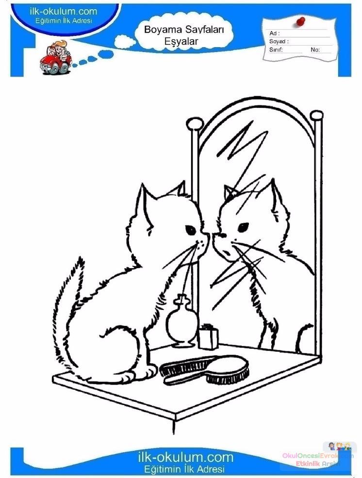 çocuklar Için Ayna Eşyalar Boyama Sayfası 6 Preschool Activity