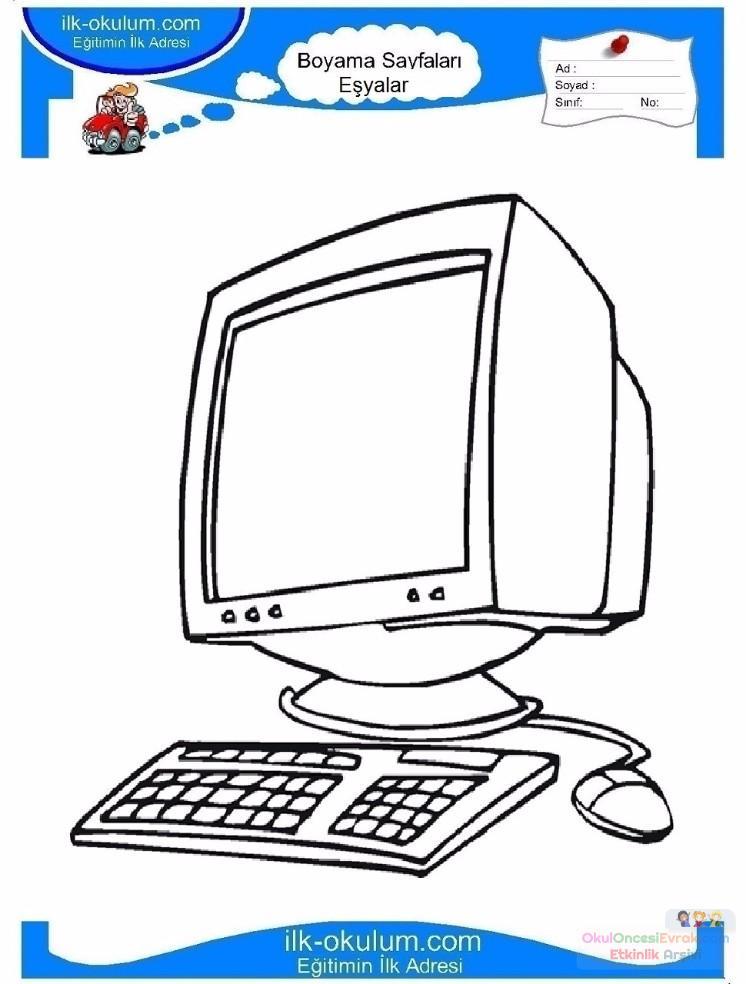 çocuklar Için Bilgisayar Eşyalar Boyama Sayfası 1 Preschool Activity