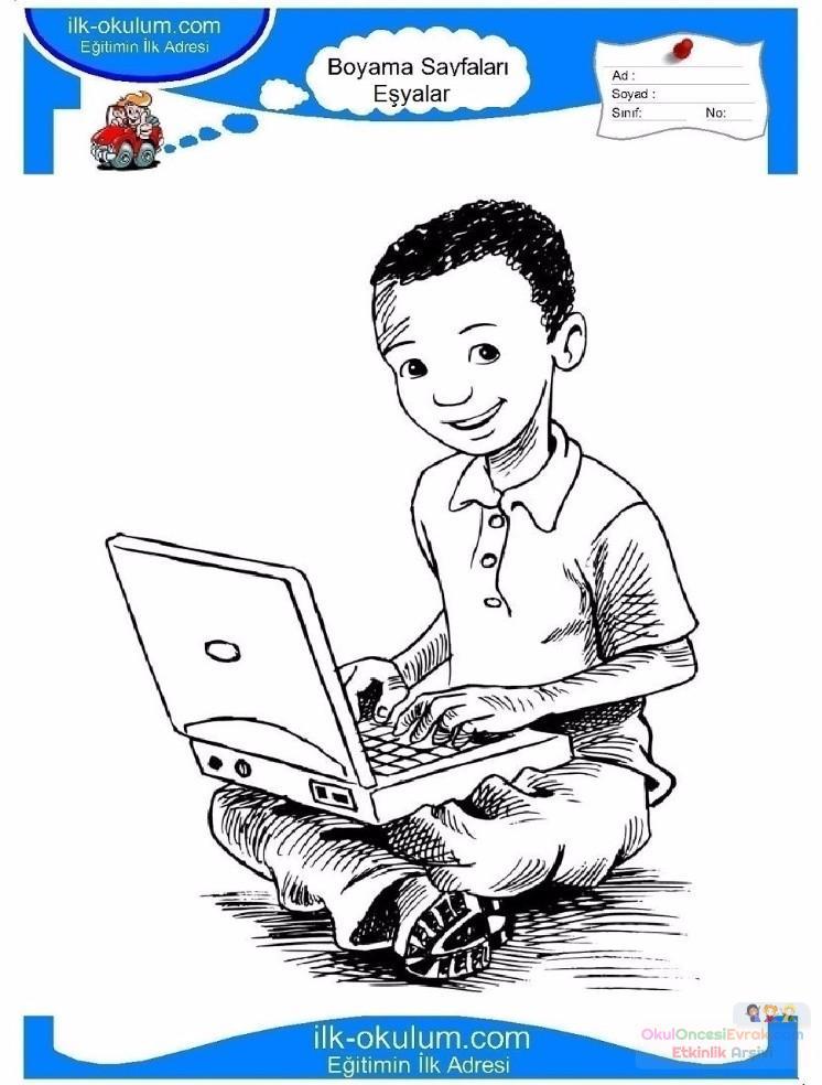 çocuklar Için Bilgisayar Eşyalar Boyama Sayfası 7 Preschool Activity