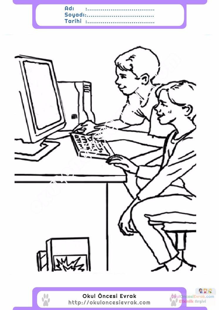 çocuklar Için Bilgisayar Eşyalar Boyama Sayfası 8 Preschool Activity