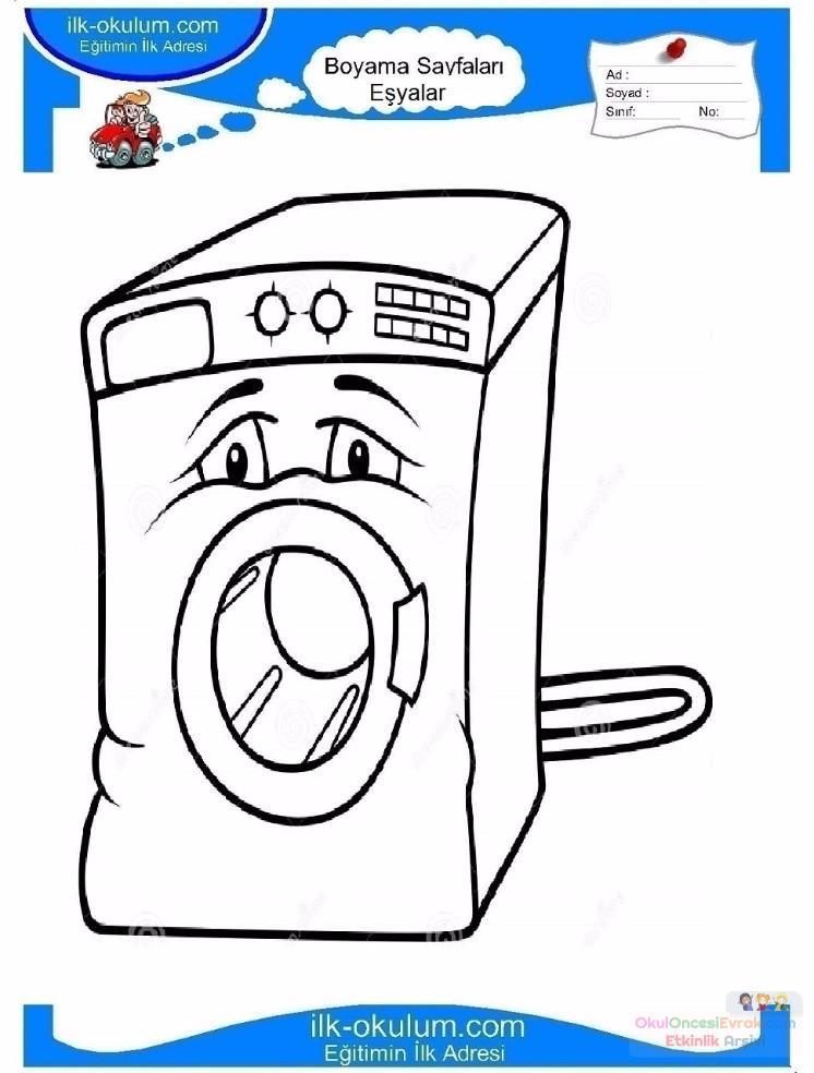 çocuklar Için çamaşır Makinesi Eşyalar Boyama Sayfası 1 Preschool