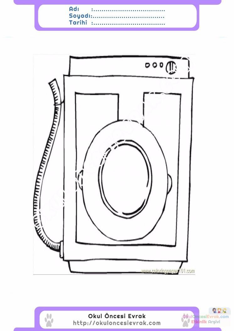 çocuklar Için çamaşır Makinesi Eşyalar Boyama Sayfası 10 1