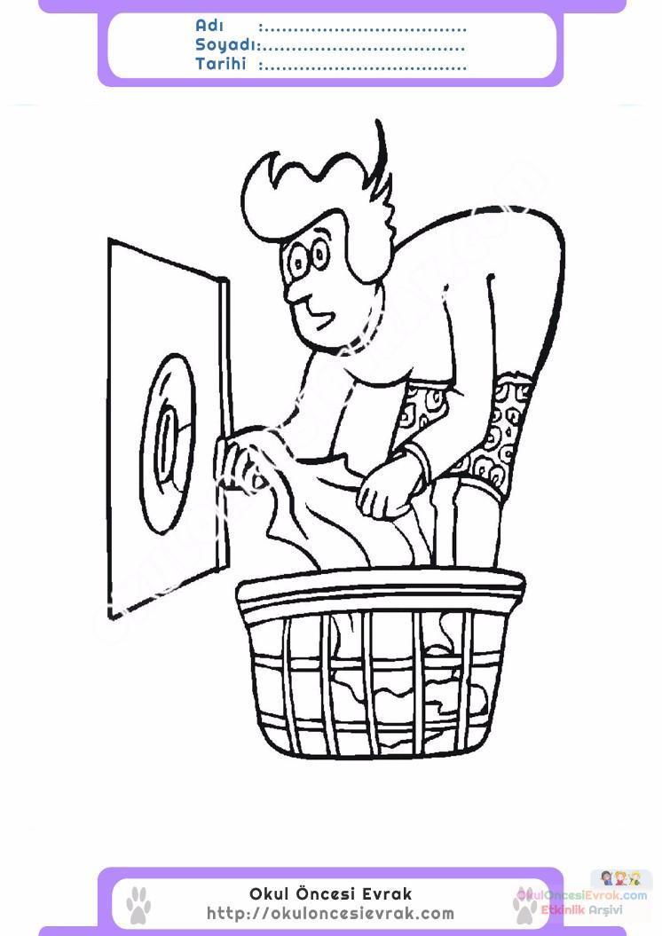 çocuklar Için çamaşır Makinesi Eşyalar Boyama Sayfası 12 Preschool