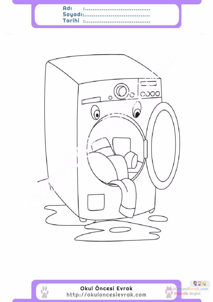 çocuklar Için çamaşır Makinesi Eşyalar Boyama Sayfası 13 Preschool
