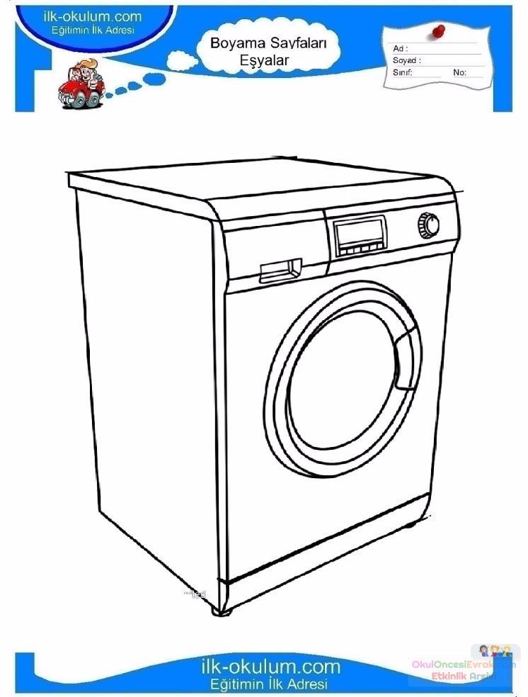çocuklar Için çamaşır Makinesi Eşyalar Boyama Sayfası 2 Preschool