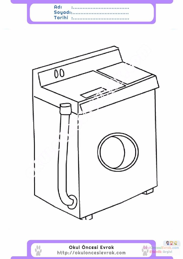 çocuklar Için çamaşır Makinesi Eşyalar Boyama Sayfası 3 Preschool