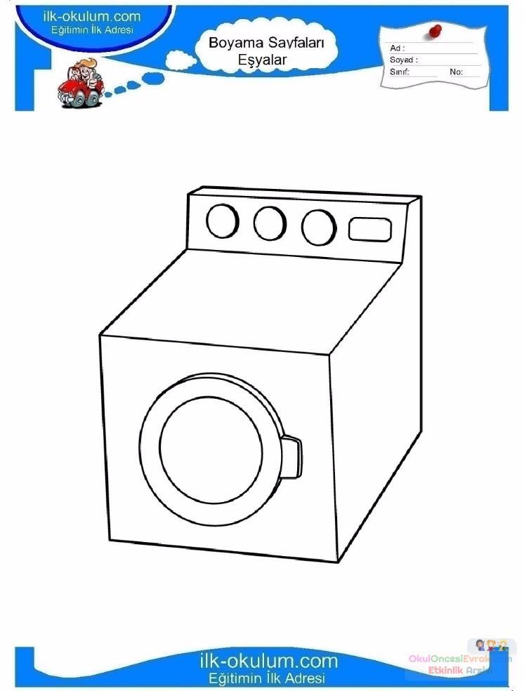 çocuklar Için çamaşır Makinesi Eşyalar Boyama Sayfası 4 Preschool