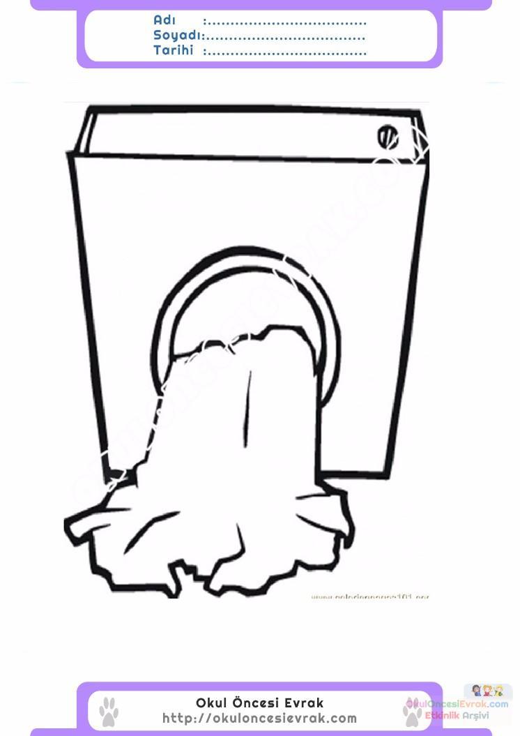 çocuklar Için çamaşır Makinesi Eşyalar Boyama Sayfası 5 Preschool