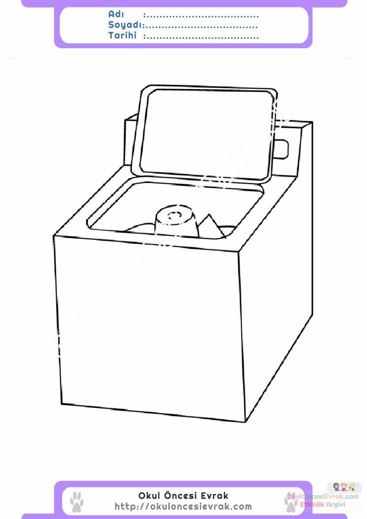 çocuklar Için çamaşır Makinesi Eşyalar Boyama Sayfası 6 Preschool