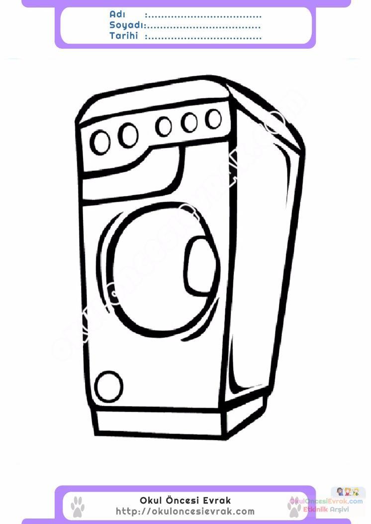 çocuklar Için çamaşır Makinesi Eşyalar Boyama Sayfası 7 Preschool
