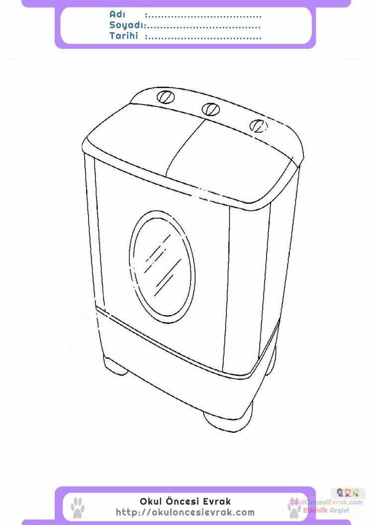 çocuklar Için çamaşır Makinesi Eşyalar Boyama Sayfası 8 1
