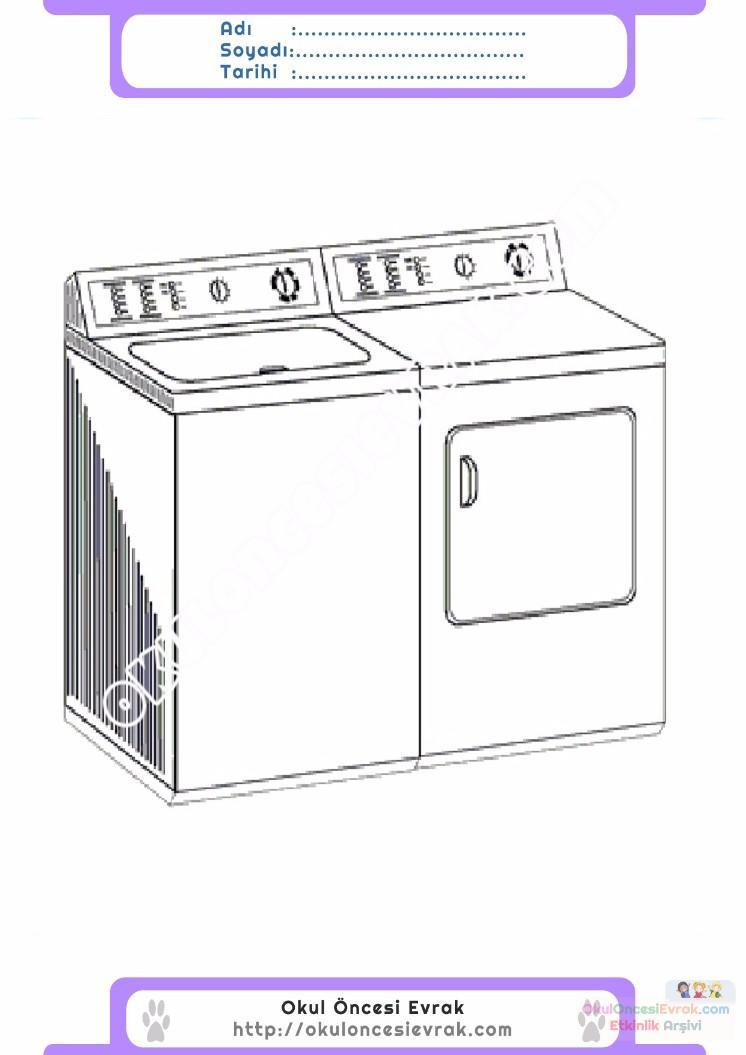 çocuklar Için çamaşır Makinesi Eşyalar Boyama Sayfası 9 1