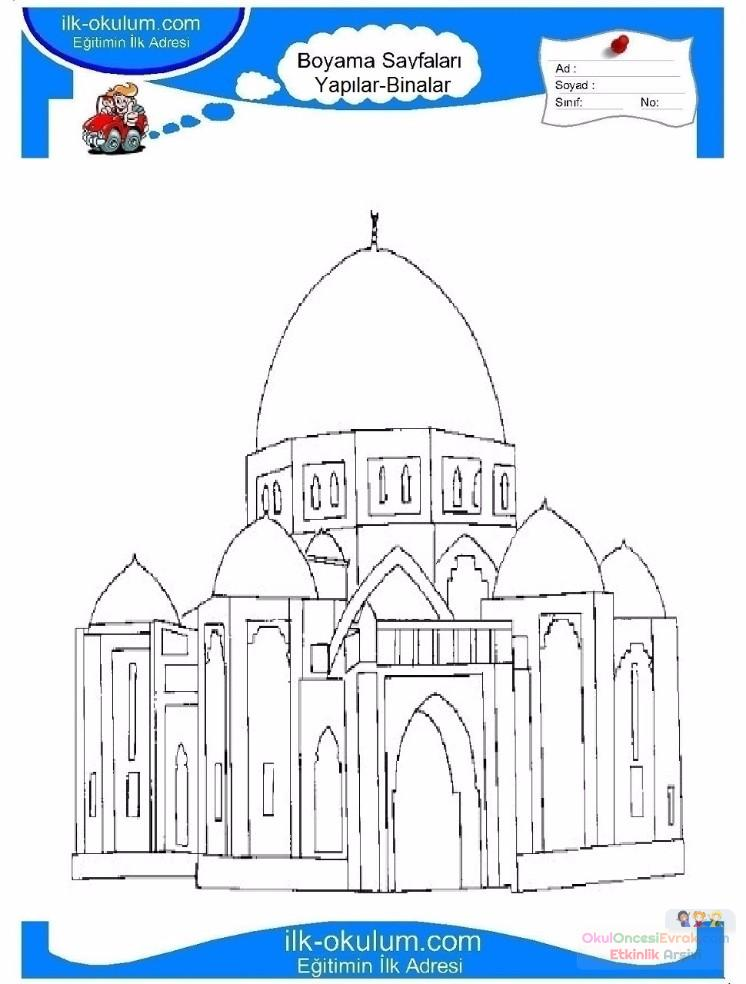 çocuklar Için Cami Yapılar Binalar Boyama Sayfası 11 Preschool