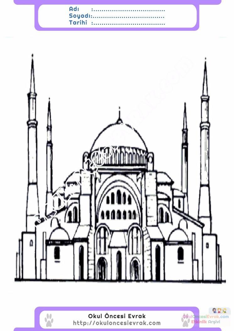 çocuklar Için Cami Yapılar Binalar Boyama Sayfası 12 Preschool