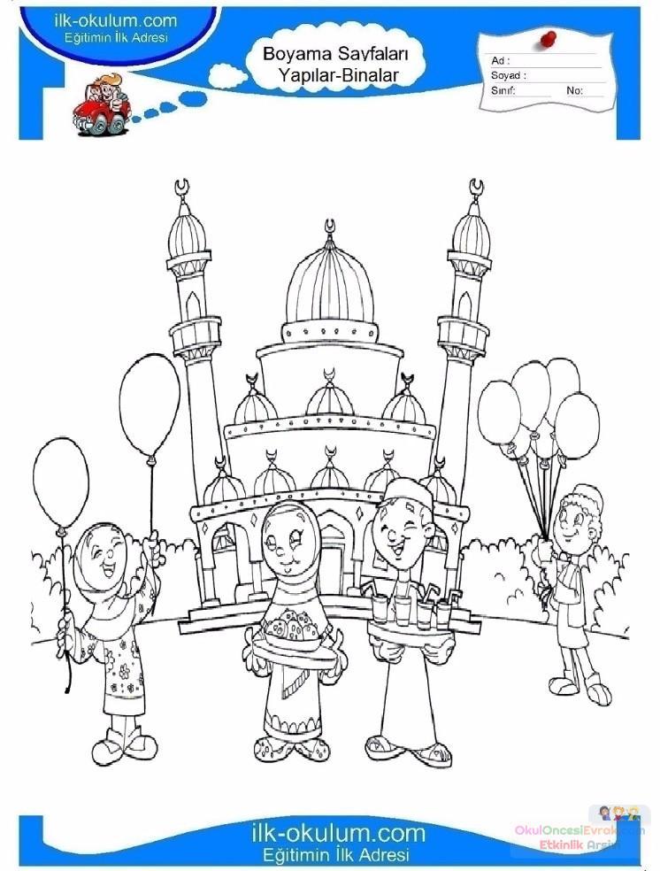 çocuklar Için Cami Yapılar Binalar Boyama Sayfası 13 Preschool