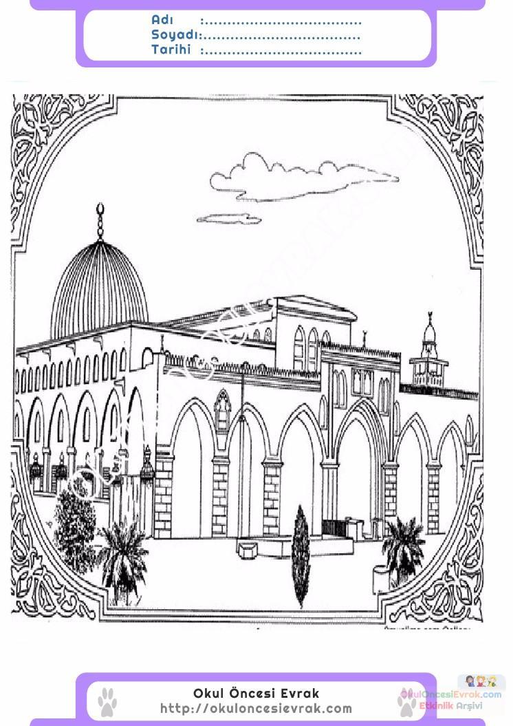 çocuklar Için Cami Yapılar Binalar Boyama Sayfası 15 Preschool