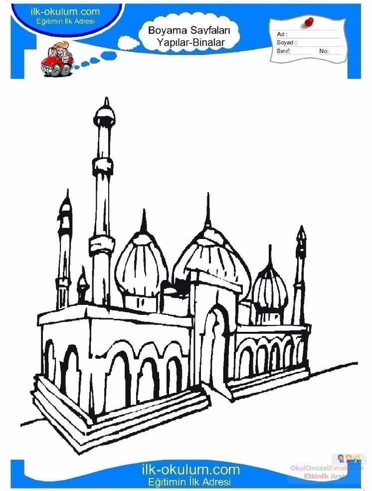 çocuklar Için Cami Yapılar Binalar Boyama Sayfası 2 Preschool Activity