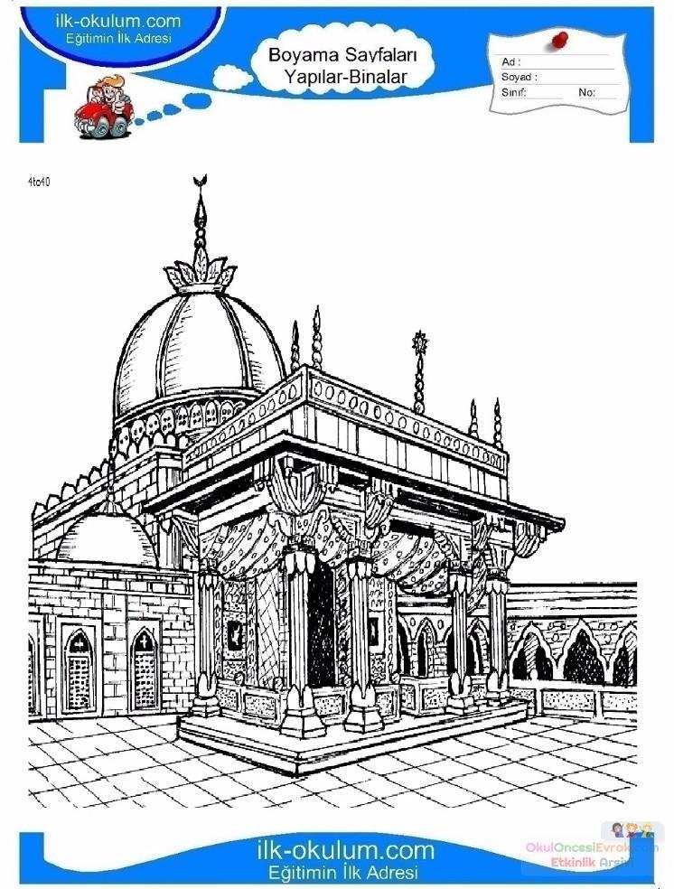 çocuklar Için Cami Yapılar Binalar Boyama Sayfası 3 Preschool Activity